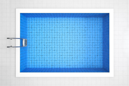 Empty Swimming Pool Top View on a tiles background