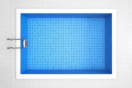 Lege Zwembad Top View op een tegels achtergrond