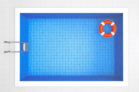 Empty Swimming Pool with Lifebuoy Top View on a tiles background