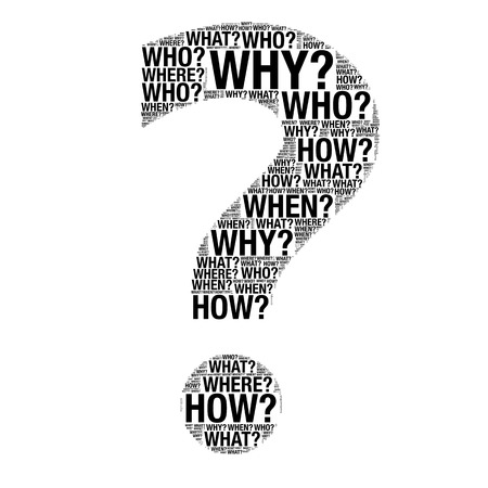 Business concept made with Question words drawing as Question mark on a white background