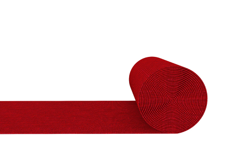 Unrolled red carpet on a white background