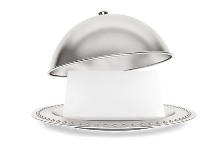 cloche: Silver Restaurant cloche with paper template on a white background Stock Photo