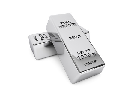 silver bars: Bank Silver Bars on a white background