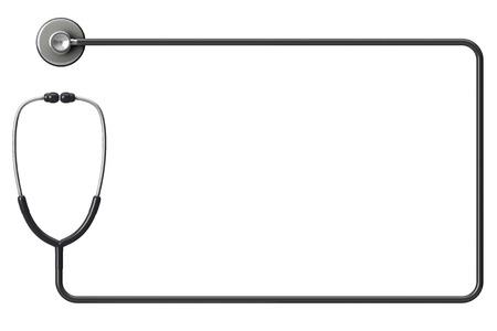 Läkarens stetoskop som ram på en vit bakgrund med utrymme för text Stockfoto