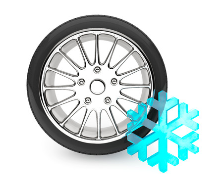 retreading: Winter Car Wheel Tire with snowflake on a white background Stock Photo