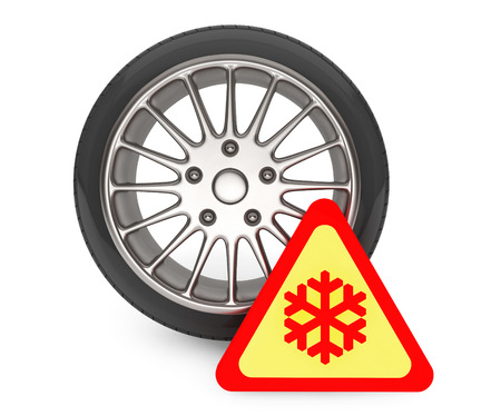 retreading: Winter Car Wheel Tire with snowflake sign on a white background