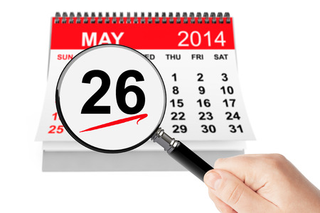 Memorial Day Concept. 26 may 2013 calendar with magnifier on a white background photo