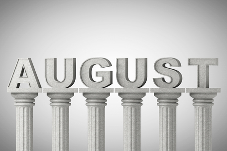grecian: August month sign on a greek style classic columns