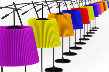 Colour balanced floor lamps on a white background photo
