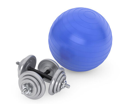 Fitness ball and dumbbells on a white background photo