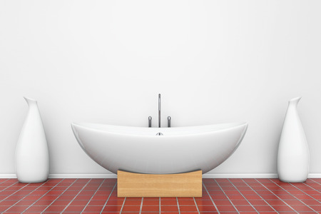 Modern White Bathtube With Vases In A Bathroom Stock Photo Picture