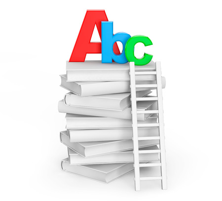 Education Concept. Books with ABC sign on a white background