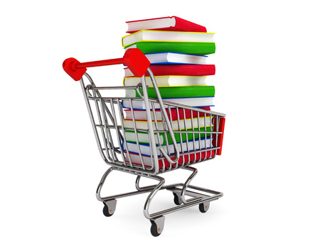 bibliophile: Many books on shopping cart on a white background