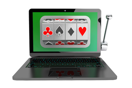 Online casino concept. Slot machine inside laptop on a white background photo