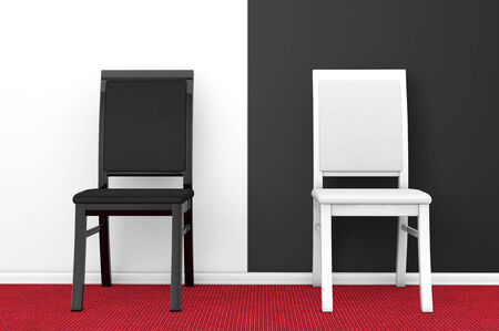 Black and White Chairs against a blank black and white wall Stock Photo - 27010011