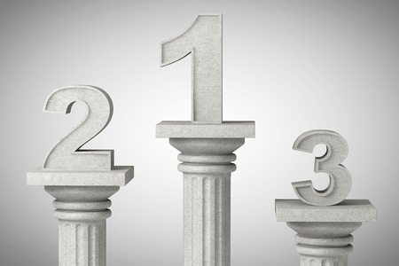 architectural team: Numbers one, two and three over classic column on a concrete background Stock Photo
