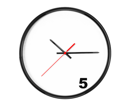 Five hours Concept. Clock with focus on 5 sign on a white background photo