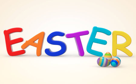 Cartoon color Easter sign on a white background photo