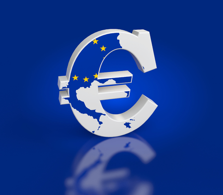 Euro Sign with Map texture on a blue background photo