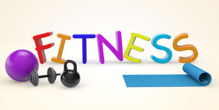 stretching exercise: Cartoon color Fitness sign on a white background