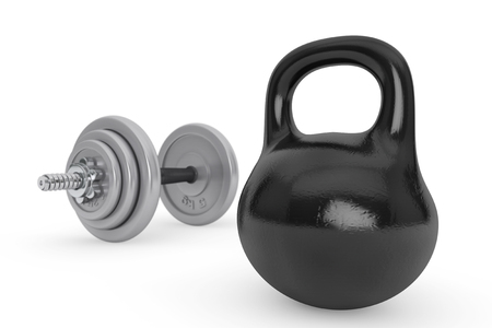 crossbar: Fitness concept. Kettlebell and dumbbell on a white background