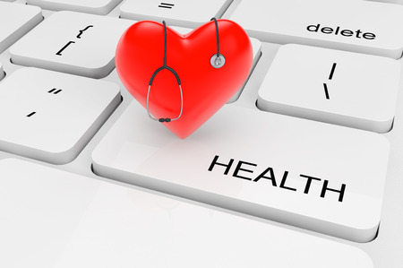 physican: Health Care concept. Extreme closeup red heart with stethoscope on a keyboard