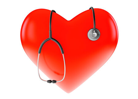 Red heart and stethoscope on a white background photo