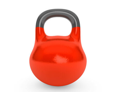 Red iron kettlebell for weightlifting and fitness on a white background photo