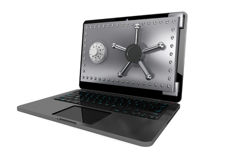 Computer security concept. Laptop with Safe Door on a white background photo