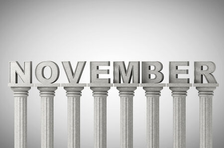 November month sign on a greek style classic columns photo