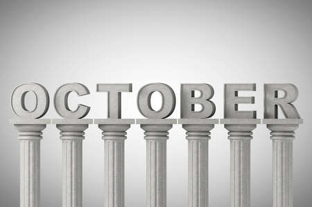 October month sign on a greek style classic columns photo