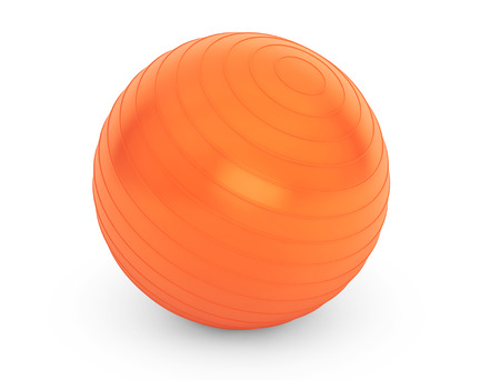 Big orange ball for fitness detail on a white background