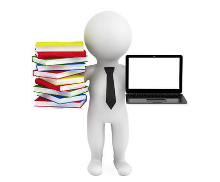 3d person holding a laptop and books on a white background photo