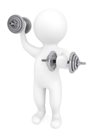 Fitness concept. 3d person with dumbbells on a white background photo