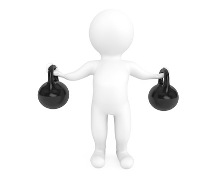 Fitness concept. 3d person with kettlebells on a white background photo