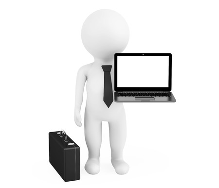 programer: 3d person businessman with modern laptop on a white background Stock Photo