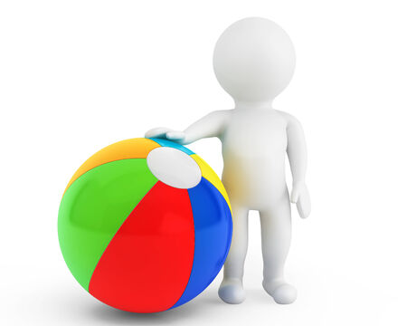 3d person with a beach ball on a white background photo