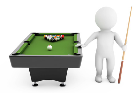 cue sticks: 3d person with Cue near billiards table on a white background Stock Photo