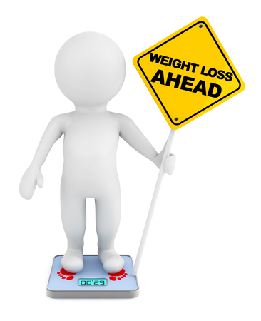 craving: 3d person over weight scale with Weight Loss Ahead traffic sign on a white background