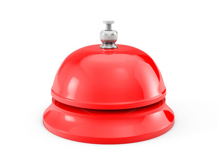 ding: Red Service bell ring on a white background
