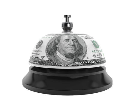 service bell: Service concept. Service bell and Dollar texture on a white background