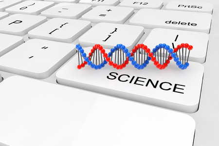 extreme science: Science concept. Extreme closeup twisted DNA chain on a keyboard Stock Photo