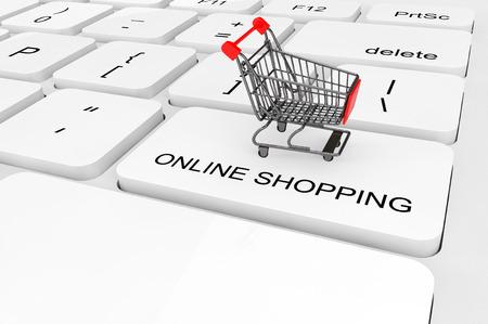 Online winkelen concept. Extreem close-uptiesboodschappenwagentje op een toetsenbord