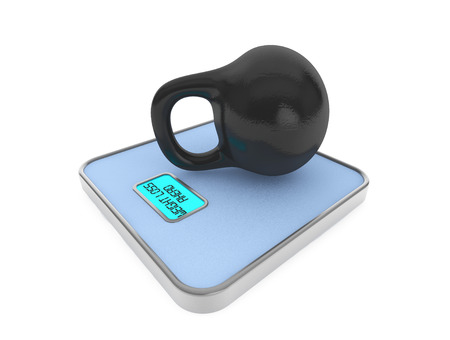 Kettlebell on Digital Bathroom Weight Scale on a white background photo