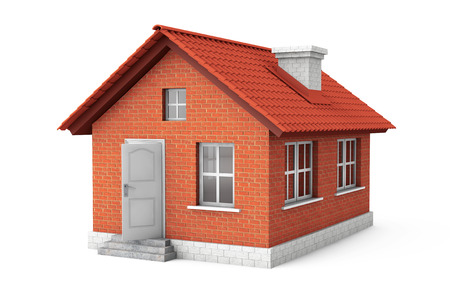 不動産の概念。白の背景に 3 d ハウス