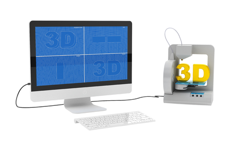 3d printer connected to desktop computer on a white background photo