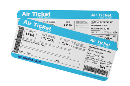 boarding card: Airline boarding pass tickets on a white background Stock Photo