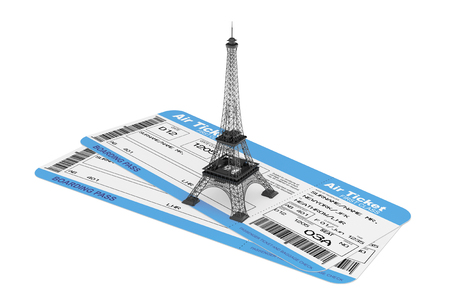 Airline boarding pass tickets with Eiffel Tower on a white background photo