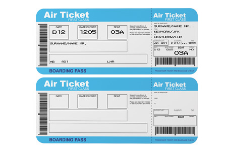 business class travel: Airline boarding pass tickets on a white background Stock Photo