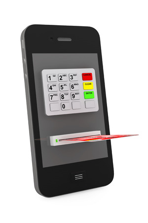 Online payments concept. Mobile Phone with ATM and Credit Card on a white background photo